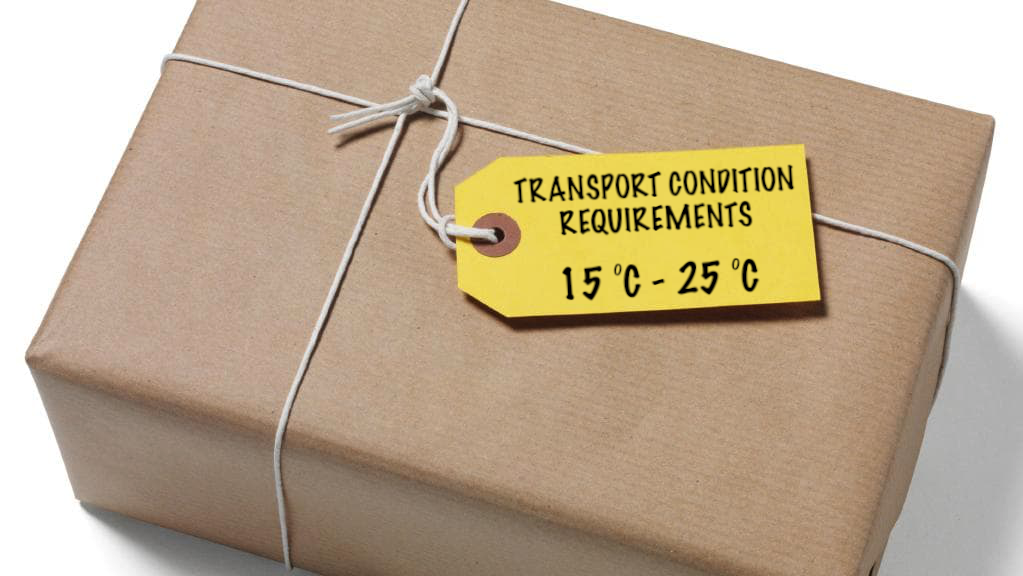 package with temperature tag